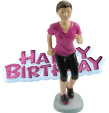 Girl Runner Resin Topper with Happy Birthday Motto